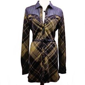 NIKITA Shirt Dress and Tunic Green Plaid and Denim